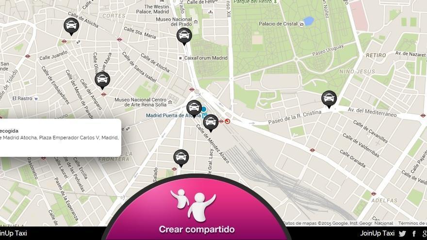 La app permite crear un viaje compartido desde 15 minutos antes de que se produzca.