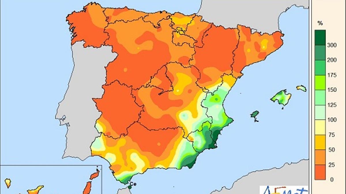 Extremadura, Galicia o Aragón, las de menos lluvias relativas: entre cero y el 25% de lo habitual