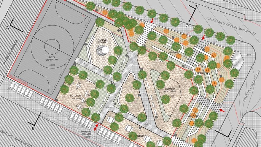 Plano de la reforma del parque de Conde Duque | AYUNTAMIENTO DE MADRID