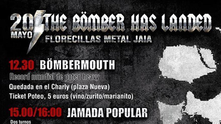 Cartel del homenaje a 'Bomber', con 'poteo heavy' bömbermouth incluido.