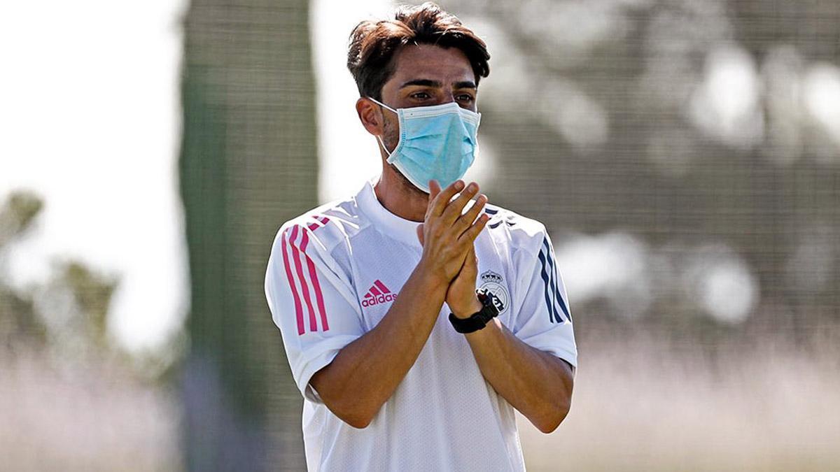 Jorge Romero, en un entrenamiento del Real Madrid juvenil A