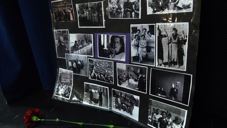 Juana Doña aparece en el centro de este collage de homenaje a las mujeres que lucharon por la República y fueron represaliadas. / F. S.