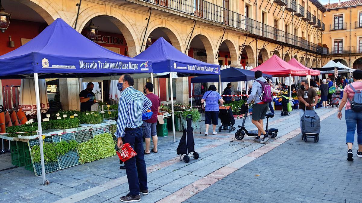 El mercado tradicional de la Plaza Mayor de León, el primer día que se puede salir a la calle sin mascarillas.