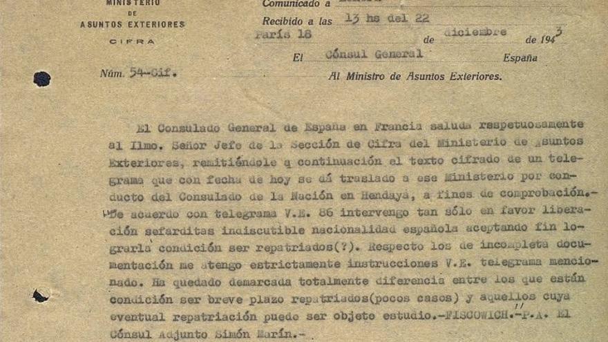 Telegrama incorporado por el autor en el libro y facilitado a eldiario.es