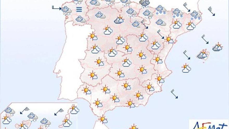 Viento fuerte en el nordeste, con rachas de muy fuerte en Canarias