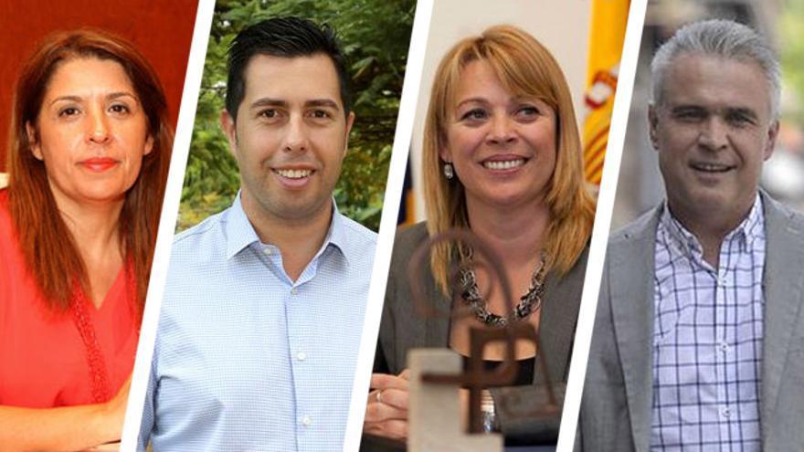 Las candidatas de NC en los municipios de Telde y Teror, Carmen Hdez e Isabel Guerra, y los aspirantes del PSOE en Telde y Teror, Alejandro Ramos y Gonzalo Rosario.