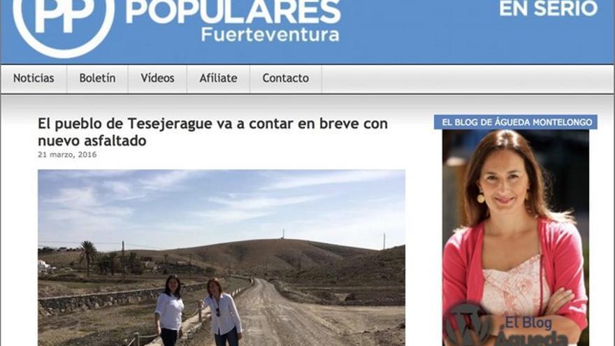 Aunque dejó de ser presidenta del PP de Fuerteventura en 2017, todavía está disponible en internet la web del partido con Montelongo al frente.