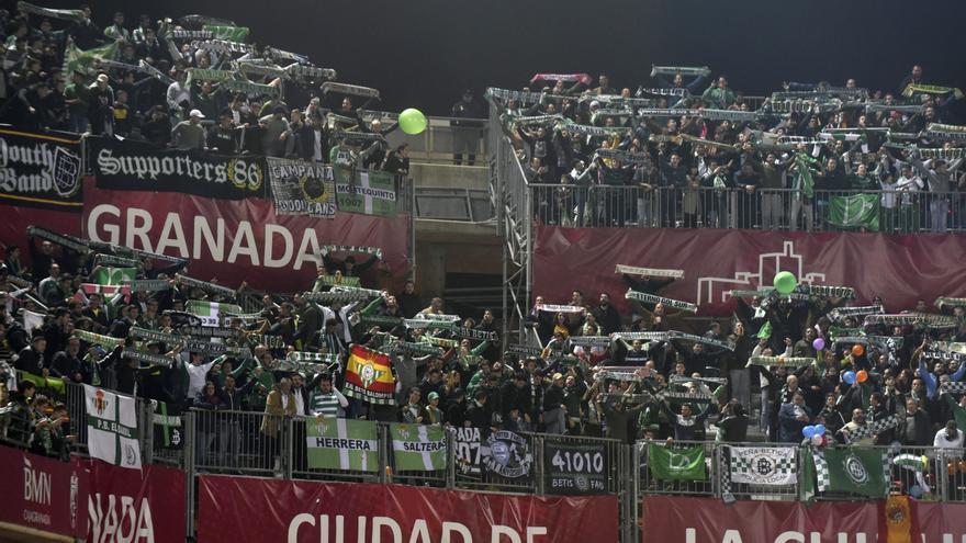 La afición del Betis en su último desplazamiento en el campeonato de Liga.