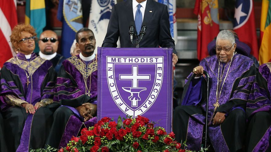 Barack Obama, durante el funeral de Clementa Pickney
