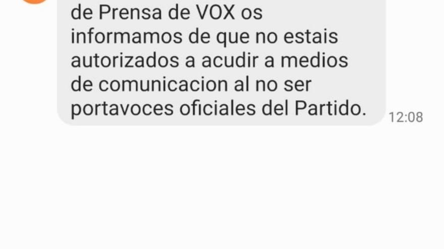 Mensaje que recibieron los militantes de Vox que denunciaron el fraude en las primarias.