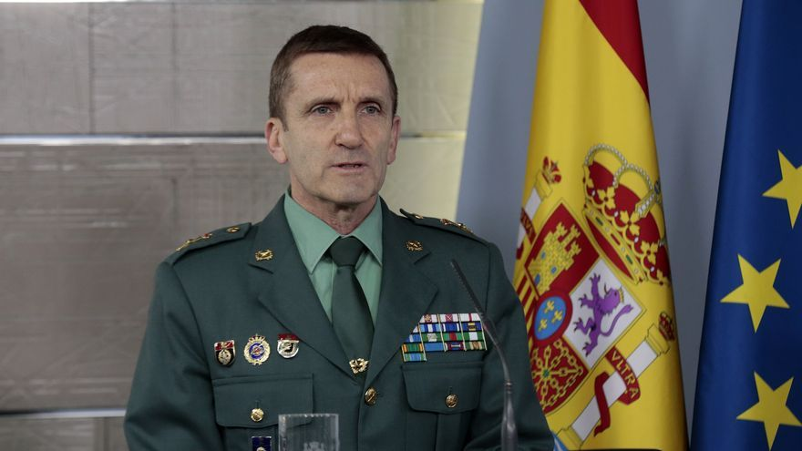 El jefe del Estado Mayor de la Guardia Civil, José Manuel Santiago Marín, en la rueda de prensa del Comité Técnico del Covid-19 de este sábado.