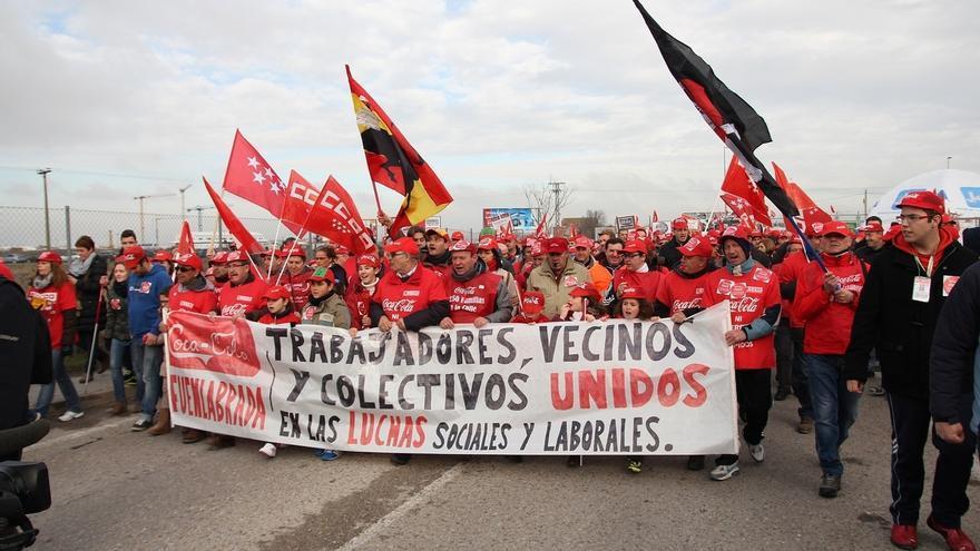 Protesta de los trabajadores de Coca-Cola. EUROPA PRESS