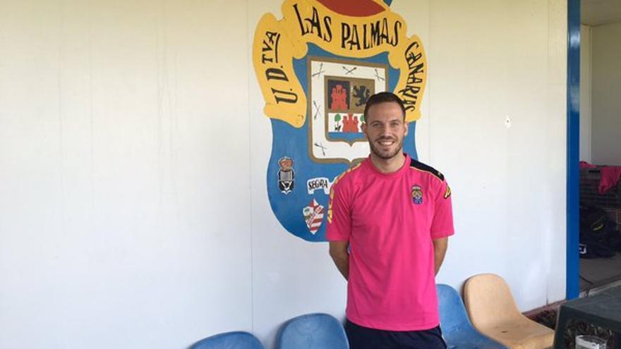 Javi Castellano en las instalaciones de Barranco Seco. (Twitter oficial UD Las Palmas).