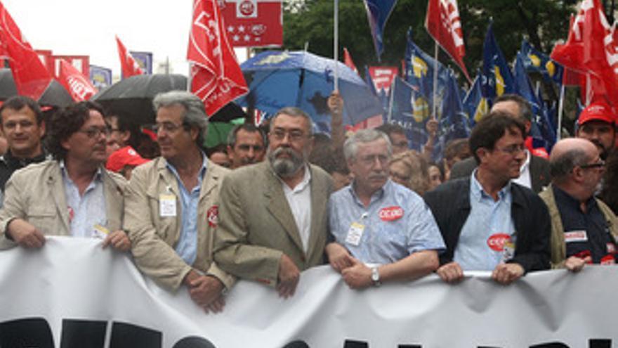 Toxo y Méndez en la manifestación de la huelga de funcionarios