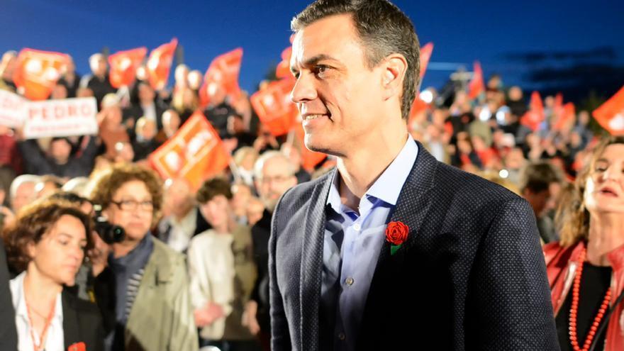 Pedro Sánchez, este domingo en la sede de Ferraz.