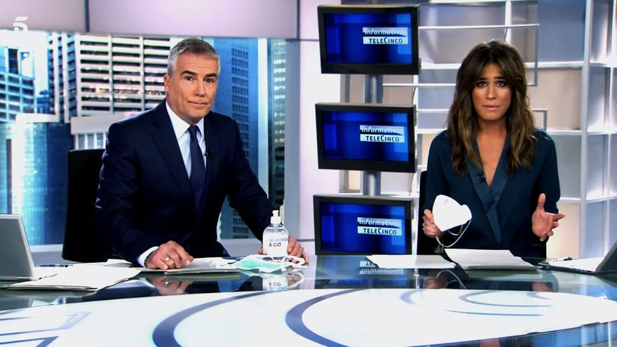 David Cantero e Isabel Jiménez en Informativos Telecinco