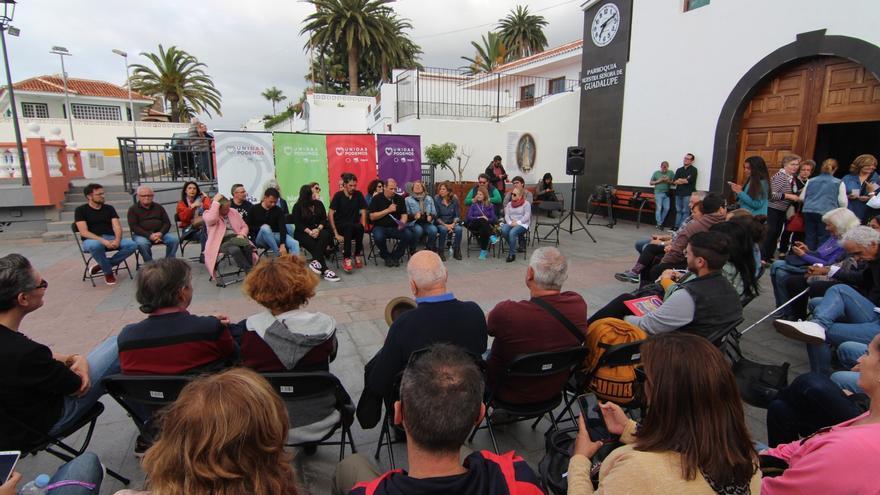 Un momento del acto político de Unidas Podemos convocado en Los Realejos