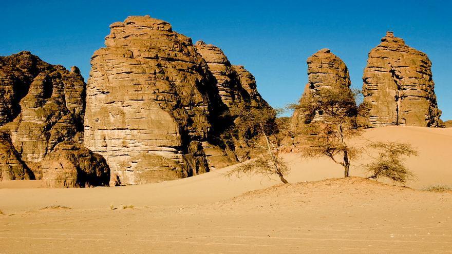 Formaciones rocosas en la meseta de Tassili n'Ajjer, en el sur de Argelia. PN TASSILI