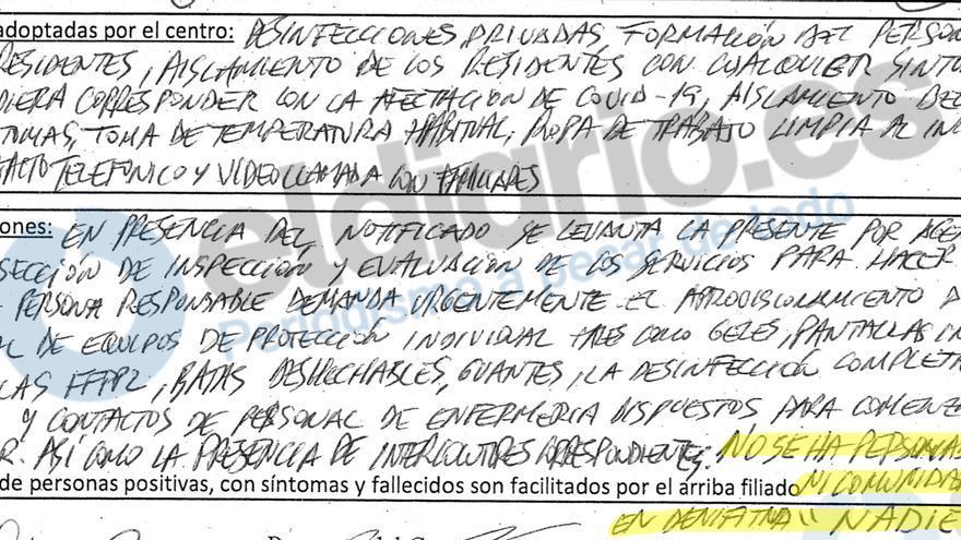Acta de inspección de la residencia Rafael Alberti