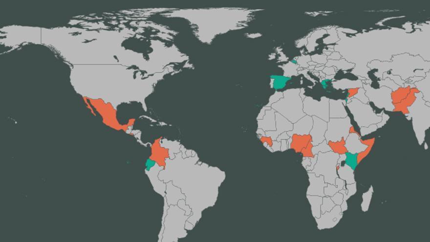 Mapa de los países de origen y destino de los refugiados que protagonizan estas 13 historias | FOTO: Belén Picazo