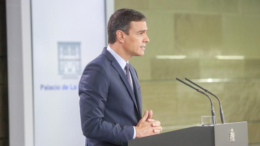 El presidente del Gobierno en funciones, Pedro Sánchez, hace una declaración institucional tras conocerse la sentencia del Tribunal Supremo (TS) sobre el proceso independentista del 1-O, en el Complejo de la Moncloa, Madrid (España) a 14 de octubre de 2019 / Europa Press
