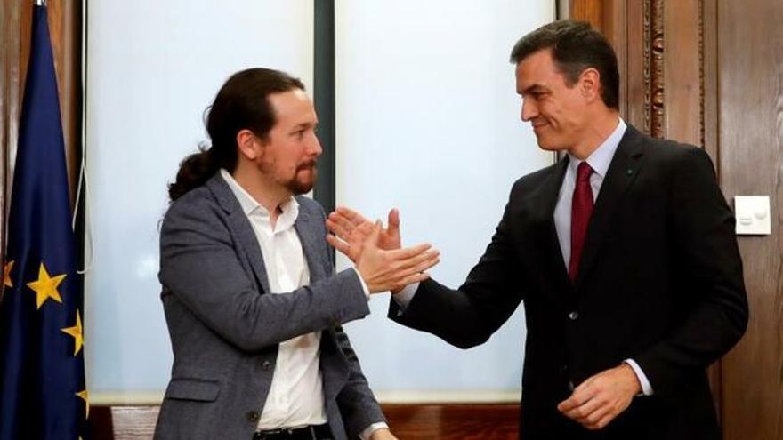 Pedro Sánchez y Pablo Iglesias tras la firma del acuerdo. EFE