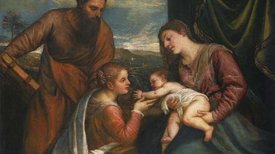 Sagrada Conversación: la Virgen y el niño con San Lucas y Santa Catalina de Alej