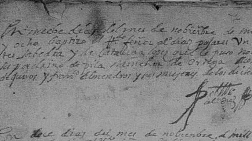 Partida de bautismo con el nombre de Miguel de Cervantes en Alcázar de San Juan