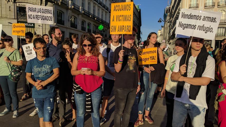 Concentración en Madrid ha favor de los refugiados
