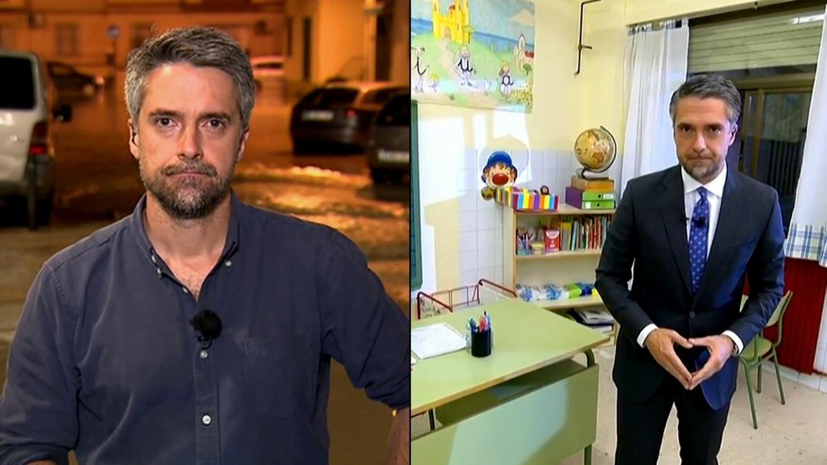 Carlos Franganillo en dos de sus 'telediarios' especiales