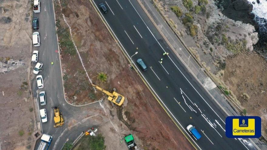Vista aérea de los trabajos en la GC-1 tras el derrumbe del muro del Tívoli.