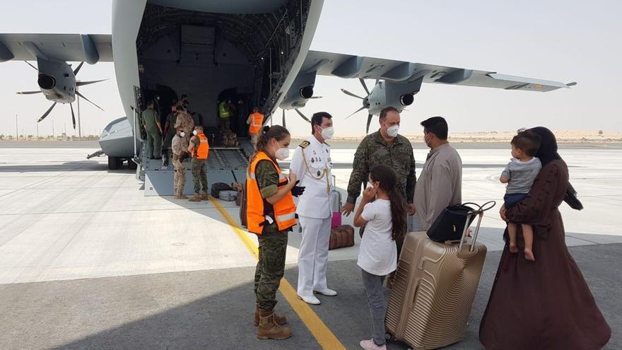 Imagen de archivo de un vuelo con españoles y trabajadores afganos procedente de Kabul.