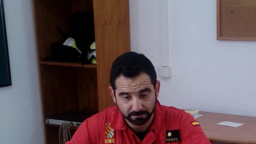 El comandante Expósito, este miércoles, en el centro de operaciones del simulacro.