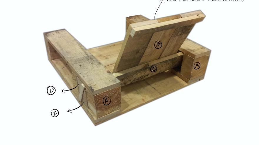 Una de las recetas para construir un sillón a partir de palés. / El Recetario.
