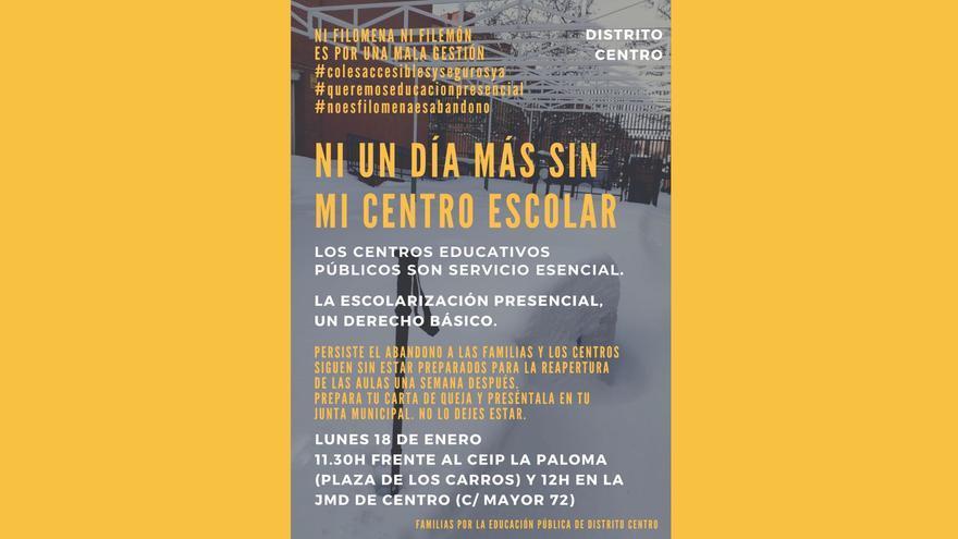 """""""Ni un día más sin mi centro escolar"""": protesta en Madrid para la reapertura inmediata de los colegios tras el temporal"""