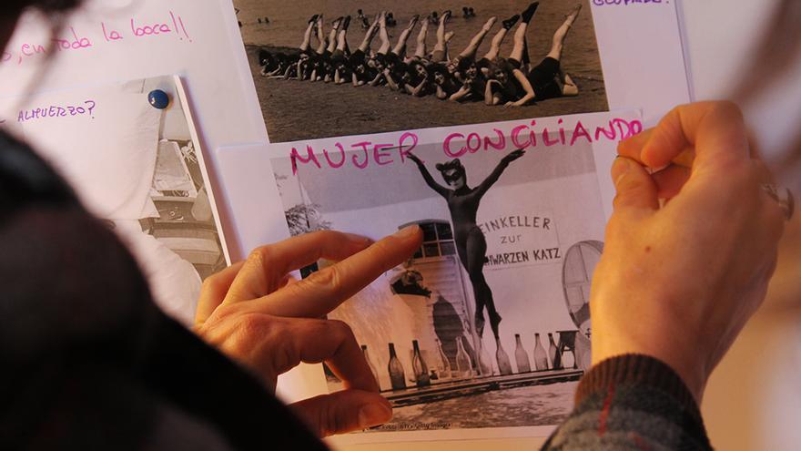 'Mujer conciliando', dice uno de los trabajos. / JUANMI BAQUERO