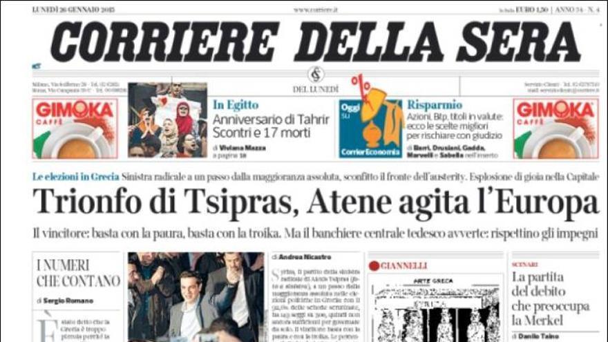 Corriere della Sera | Triunfo de Tsipras, Atenas agita Europa
