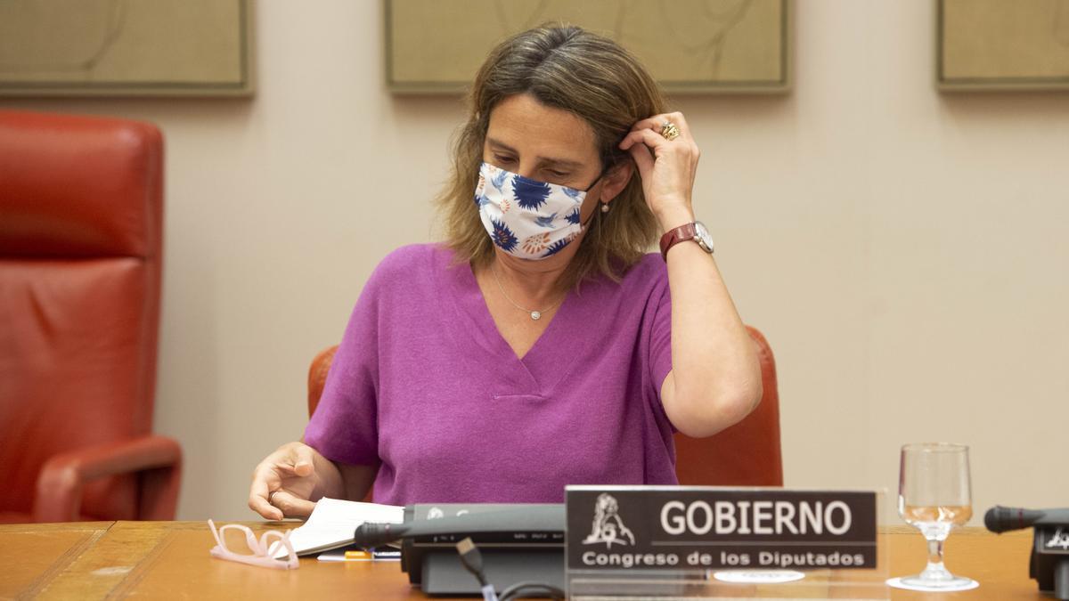 La vicepresidenta y ministra de Transición Ecológica, Teresa Ribera, en el Congreso