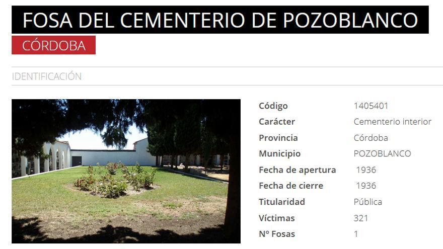 Pozoblanco, en el Mapa de Fosas.