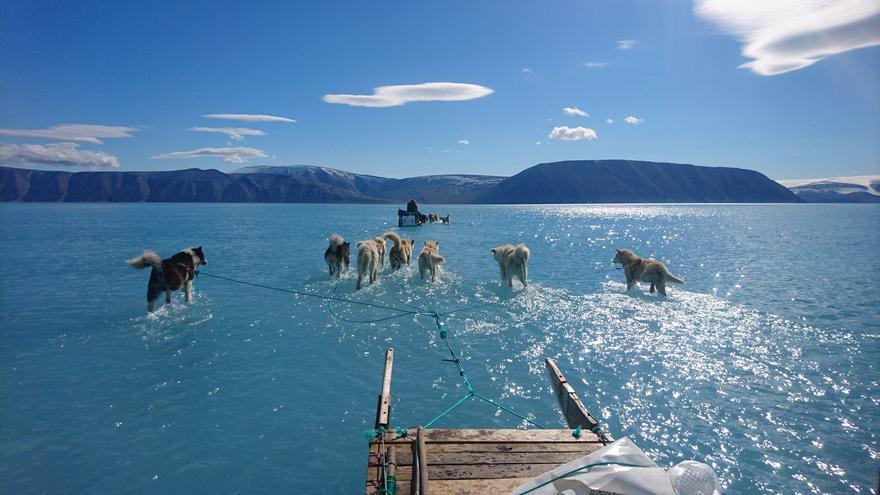 La imagen que muestra el agua derretida sobre el mar de hielo de Groenlandia