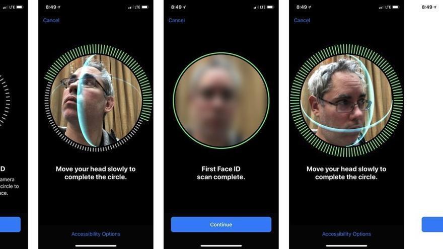 El setup de Face ID en un iPhone X