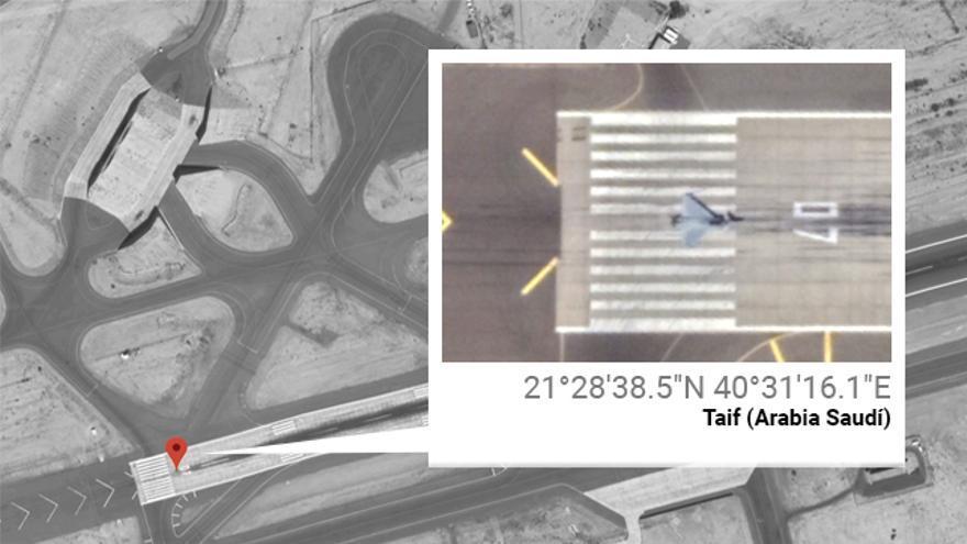 Un Eurofighter saudí a punto de despegar, geolocalizado en la base del Rey Fahad, en el oeste de Arabia Saudí, el pasado 23 de abril de 2019.