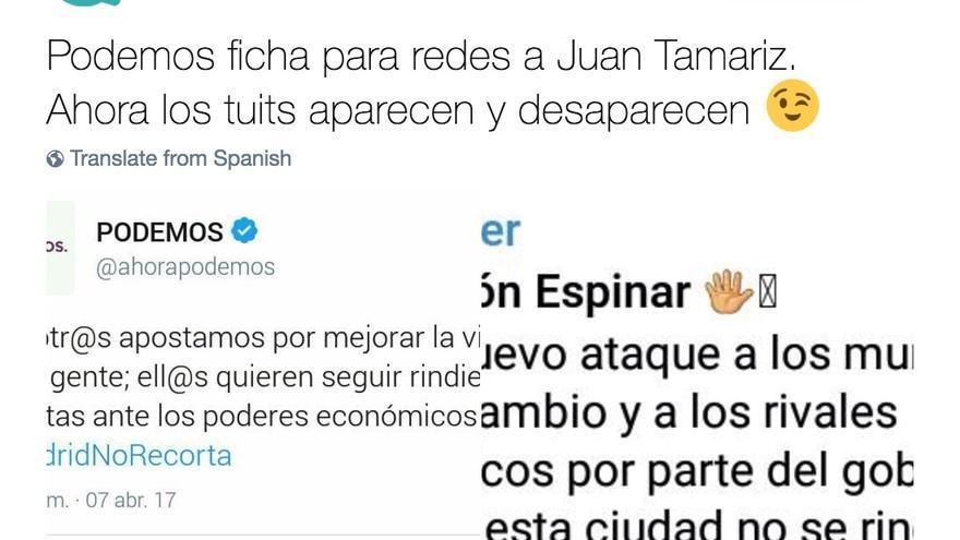 Tuit de Ganemos Madrid irónico con Podemos y Ramón Espinar.