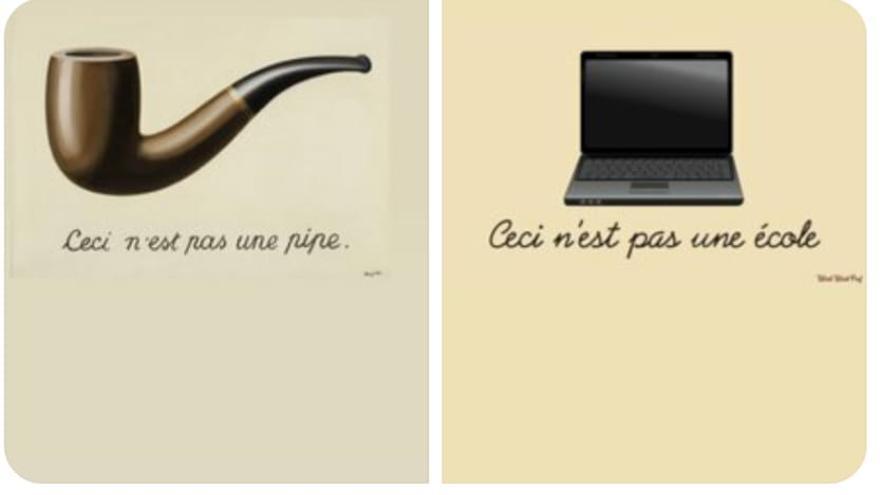 """El meme """"Ceci n´est pas une école"""" ha circulado estos días entre la comunidad educativa."""