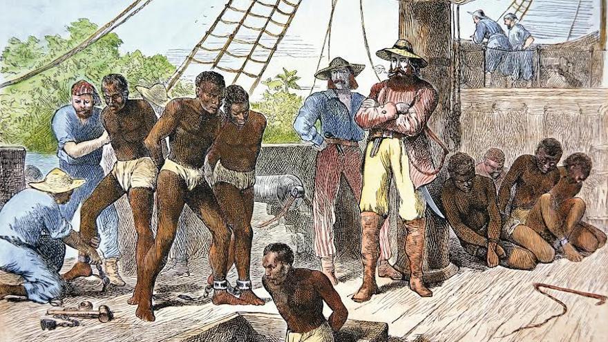 Esclavos descargando hielo en Cuba el año 1832. SAMUEL GRISWOLD GOODRICH (WIKIMEDIA COMMONS)
