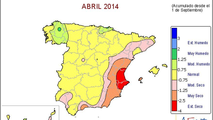 Mapa del Indice de Precipitaciones Estandarizado de la Agencia Estatal de Meteorología.