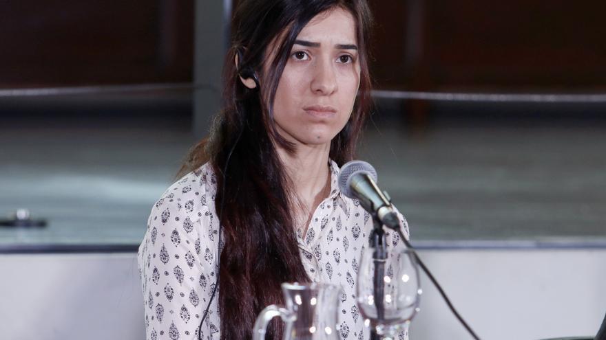 Nadia Murad, durante los Premios por la paz de la Asociación de Naciones Unidas en Barcelona