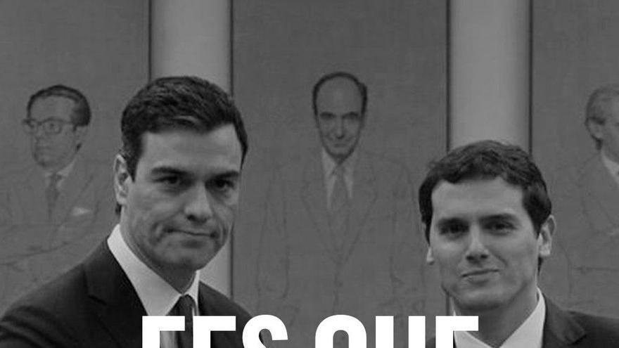 Publicidad de campaña de En Comú pidiendo el voto para evitar el voto al PSOE que derive en un acuerdo Sánchez-Rivera