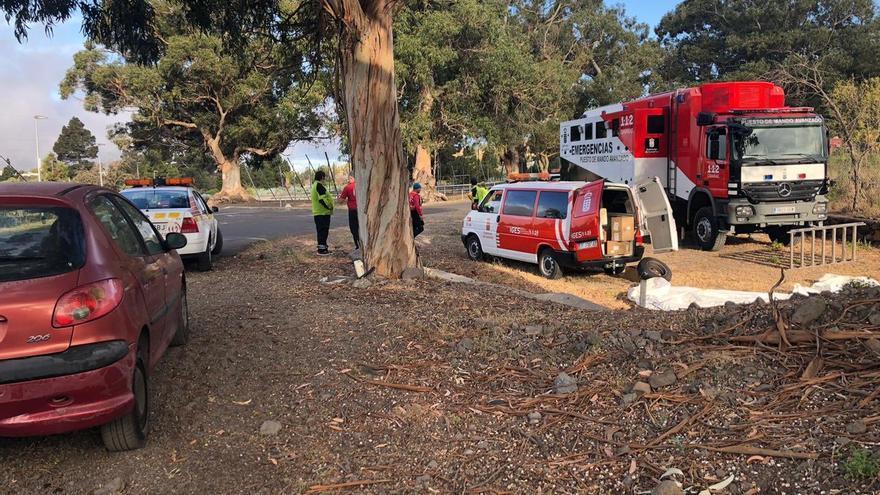 Imagen del comienzo del despliegue de medios para el simulacro de gran incendio forestal en El Paso.