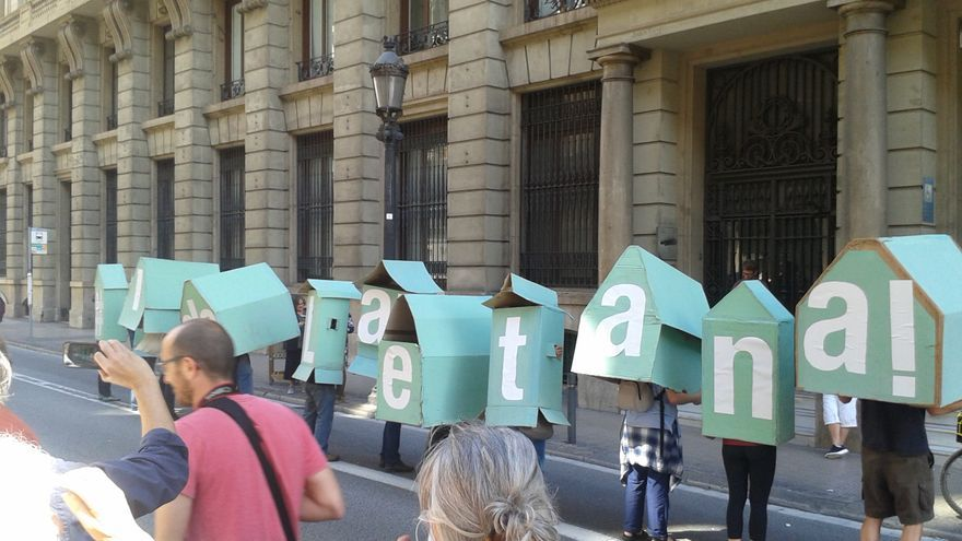 Acción reivindicativa en la Vía Laietana de Barcelona